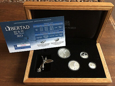 MEXICO 2013 LIBERTAD 4 fractional proof & BU set in official box w/ COA, statue