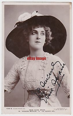 Stage actress Elsie Spain in The Quaker Girl. Signed postcard