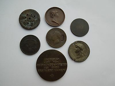 Small Collection (7) of Tokens Medals Coins. Includes German and Canadian.