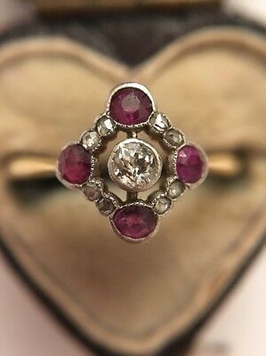 Art Deco 1920s Antique 18ct Yellow Gold Ruby And Diamond Pretty Ring