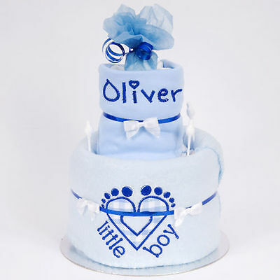 Cute 2 tier personalised nappy cake with embroidere heart feet and name bib new