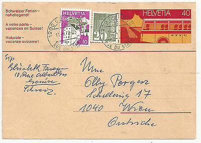 Switzerland PS card uprated to Austria 1977