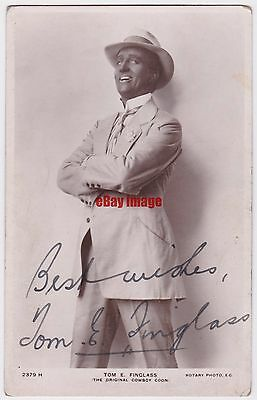 Music hall tenor Tom E Finglass in costume. Signed postcard