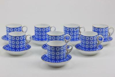 ANTIQUE ROYAL CROWN DERBY COFFEE CUPS & SAUCERS BLUE & WHITE DAISY PATTERN c1880
