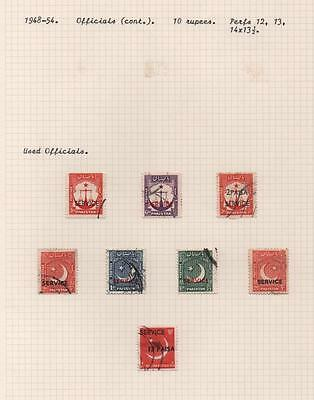 PAKISTAN: 1948-54 Used Officials - Ex-Old Time Collection - Album Page (6249)