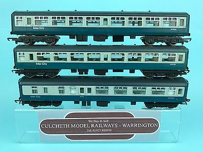 Hornby 'oo' Rake Of 3X Br Mk2 'intercity' Blue/grey Passenger Coaches Unboxed