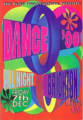 DANCE 1990 Rave Flyer Flyers A5 7/12/90 A5 The Brighton Centre