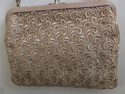 True Vintage Pale Coffee/gold Evening Bag Satin And Lace