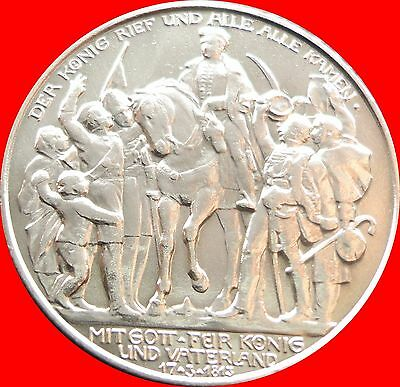 PERFECT PATINA GERMANY Prussia 1913 A Napoleon Defeat ZWEI MARK SILVER COIN FINE