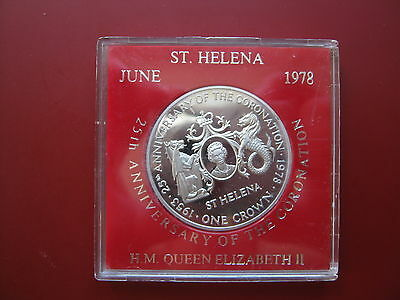 St Helena Island 1978 Silver Proof Crown coin Queen's Silver Anniversary cased