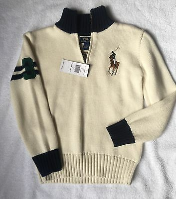 NWT Boy's Polo Ralph Lauren Quarter Zip Sweater Cream Navy Pony Sz 7 Orig $69.50