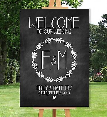 Personalised Welcome To Our Wedding Sign-A3 A2 A1-Chalkboard-Vintage-Shabby Chic