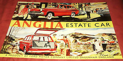 Superb 'Ford Anglia Estate', Advertising Poster.  C.1955.  595mm x 840mm.