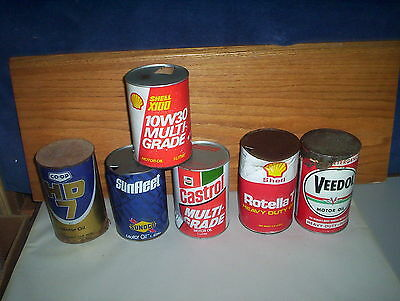 6 Vintage Canadian Motor Oil Cans Tins LOT : CO-OP Shell Sunoco Castrol Veedol