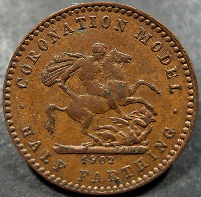 Great Britain Coronation Model of 1902 Half Farthing, about 16.5 mm