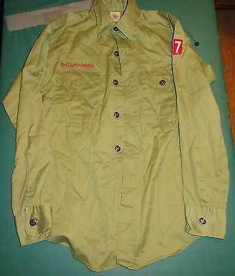 Vintage 1960's 70's Boy Scout Shirt Long Sleeve With Collar - has all Buttons