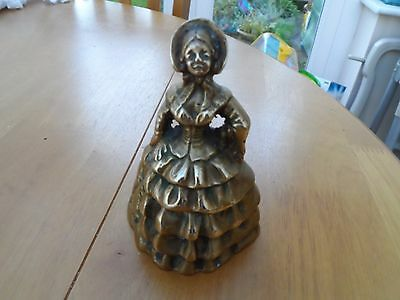 Vintage Brass Crinolin Lady Table Bell