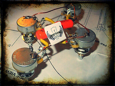 Gibson Les Paul 50s Orange Drop Wiring Upgrade Harness CTS Pots LONG SHAFT
