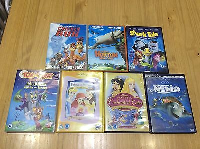 7X Childrens Dvds, Inc Shark Tale, Princesses, Dr Horton, Memo, Chicken Run