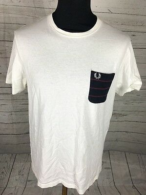 Mens Designer Fred Perry Genuine White Navy Pocket Fitted Tee T Shirt Size Uk M
