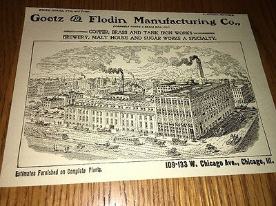 Goetz & Flodin Copper Tanks Brewery Specialist 1907 Beer Ad Chicago Factory Sce
