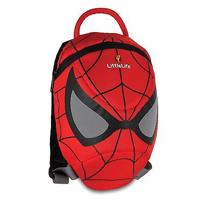 New Cute LittleLife Kids Marvel Spiderman Backpack School Bag and Safety Reins
