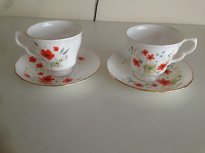 Royal Vale Carmina Poppy Cornfield Red/Blue 2 Cups & Saucers
