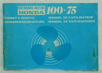 Honda Outboard Motor 100.75 Owner's Manual. English, German, French, Spanish.