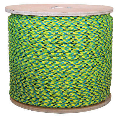 GRAING Climbing Rope,7/16 in x 600 ft,24 Strand, 20TL56, Black/Blue/Green/Yellow