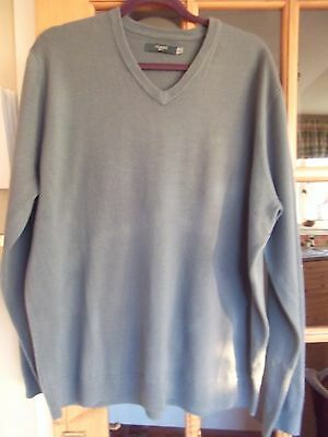 Mens V neck long sleeve Blue Jumper size XL