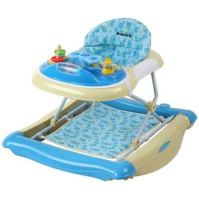 Dream On Me 2-in-1 Crossover Musical Walker and Rocker Blue