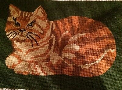 Vintage Glorafilia Tapestry Ginger Tabby Cat Completed Dark Green Background