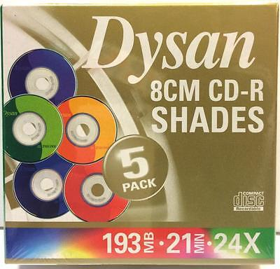 Dysan 8cm/3 inches, mini CDR's in jewel cases 5 pack 193MB 21 min 24x brand new