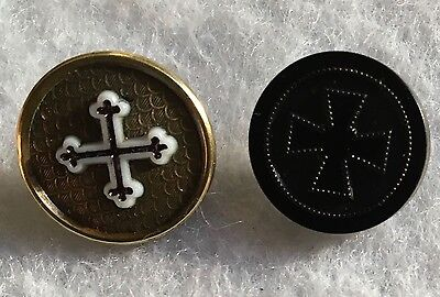 Beautiful Brass Antique Religious Cross with Milk Glass + Goodyear Buttons, B/M