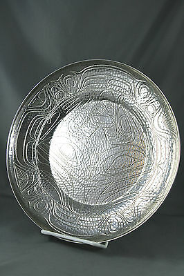 Hand Hammered Silver Plated Bowl Engraved First Nations Totem Art  10.5 inch