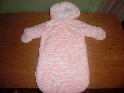 Carters Snowsuit Pink Padded Baby Bunting SZ 0-6 Month