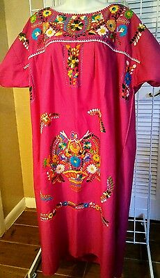 hand embroidered mexican peasant dress huipil