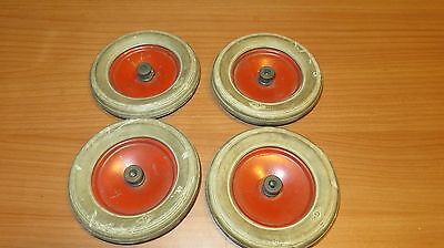 "Set of 4 ""DM"" White Truck Wheels With Rubber Tires A C Gilbert Erector Set"