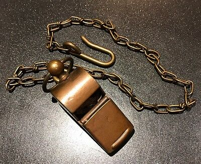 Antique Brass Military Or Police Whistle With Chain And Hook