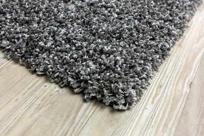 Grey Shaggy Rugs Small and Large Modern Plain 5cm Thick Soft Pile Area Rug Mats
