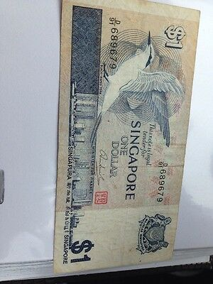 Singapore $1 One Dollar banknote 1976 Circulated Note