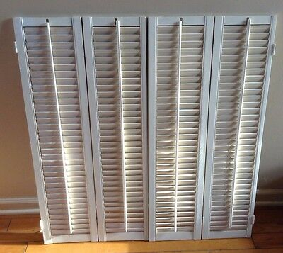 "36.75"" T x 35.5"" W VTG Colonial Wood Interior Louver Plantation Window Shutters"