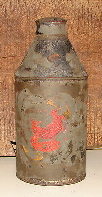 Antique Tall Toleware Can With Lid & Hand Painted Design