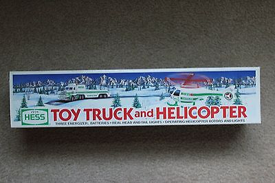 Hess 1995 TOY TRUCK AND HELICOPTER w/ Real Head and Tail Lights  NIB
