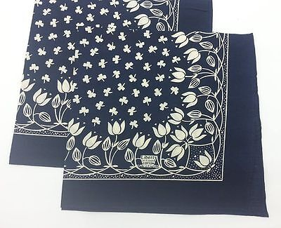 Navy Blue Liberty Of London Cotton Scarf Made in England Tulip and Clover Design