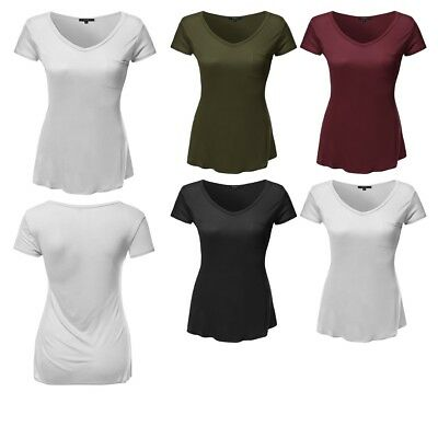 bd26358285276 FashionOutfit Women s Solid Basic V-Neck Relaxed Loose Tee Shirt Top Plus  Size