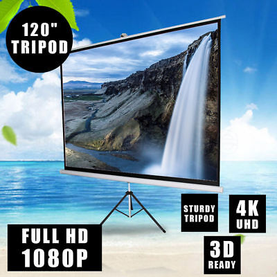 """120"""" Portable Tripod Projector Screen Stand HD 3D TV Home Height Adjustable AU"""