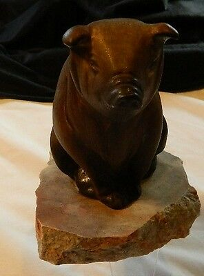 Pig Figurine Stone Base very detailed Unique Unknown Maker