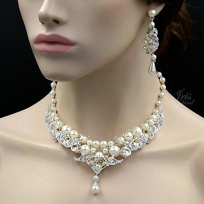 Handmade Silver Plated Pearl Crystal Necklace Earrings Wedding Jewelry Set 00025