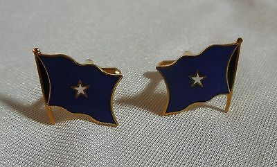 Cufflinks with One Star on Blue Flag